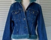 Ladies Denim Jacket with fur collar , Eddie Bauer, custom vintage, fur jean jacket, Faux blue fur, Size M petite,  fur trim jean jacket