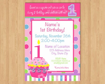 1st Birthday Girl invitation Cupcake Invitation 1st birthday girl decorations cupcake birthday invitation girl birthday party invitation