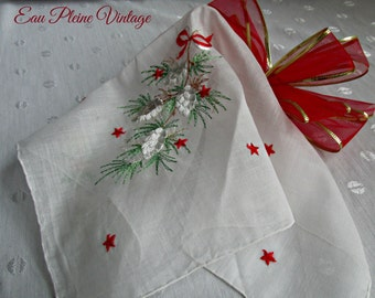 Vintage Embroidered Kimball Christmas Pinecones Evergreens Stars Red Ribbon Handkerchiefs Hankies Hanky