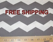 Cotton Fabric by the yard Gray and White Chevron FREE SHIPPING