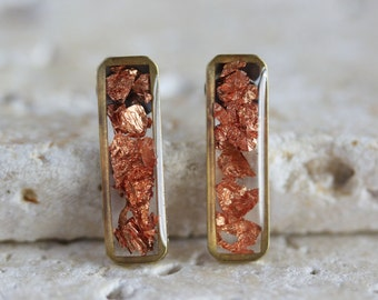 Copper Foil Brass Vertical Bar Stud Earrings - Titanium Hypoallergenic Posts