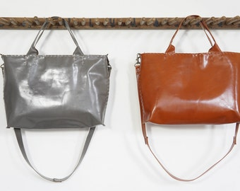 Madeleine Bag - Ultra Light Weight Kidskin Leather - Slate or Caramel - With Hidden Zipper Closure - SALE - 50% OFF