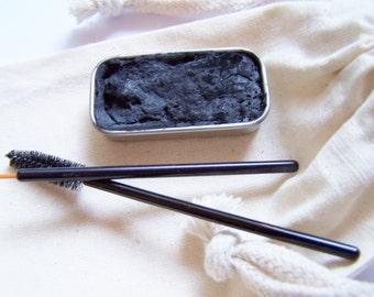 Black Creamy Cake Mascara - Mineral Makeup - Zero Waste Vegan Mascara - Cake Eyeliner - Black Cake Mascara -Paraben Free - Cat Eyes