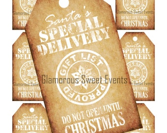 INSTANT  DOWNLOAD, Santas Special Delivery Gift Tags, Christmas Tags, Christmas Labels, Vintage Christmas Gift Tags, Printable