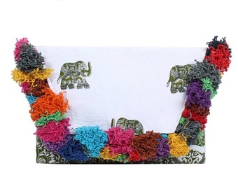 Elephant Strips Clutch Feature With Colorful Thread Printed Fabric (BG5603.61)