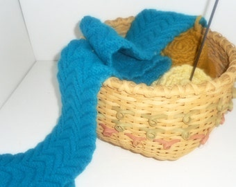 CLEARANCE,Basket, Handmade Knitted Scarves, Split Oak Basket, Vintage Basket,Scarf, Storage Basket