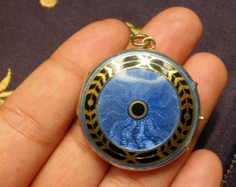Antique 1913 Edwardian Guilloche Enamel gold filled locket