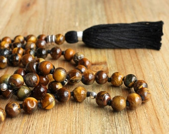 Tiger Eye Mala Necklace - Prayer Beads Meditation Mantra 108 Mala Yoga Japa Hindu Knotted Rosary Black