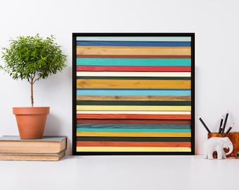 "12""x12"" Brighton - Reclaimed Wood Wall Art in Red, Yellow, Green, and Teal - Modern Wood Art"