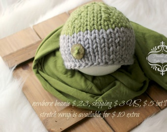newborn photography prop, green cream knitted beanie hat-night cap wooden button-baby boy hat-baby photo prop-baby shower gift