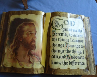 Jesus Picture and Serenity Prayer on Stand