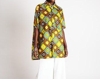 Indian Cotton Collared Unisex Shirt Yellow Green Geo Print