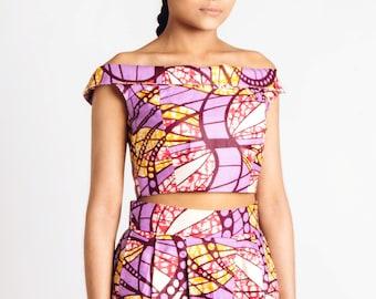 African Print Off Shoulder Bodice Lilac Pink Orange