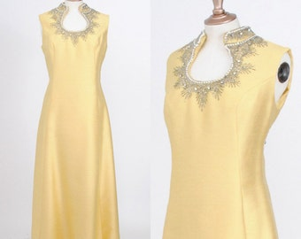 Vintage 1950s Buttercream Yellow Silk Rhinestone Dress/ Size Medium/Large