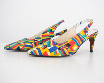 Vintage 1980's Lifestride Multicolor Abstract Print Kandinsky Slingback Pumps / Artsy Heels / Size 9-9.5