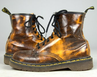 90s Dr Martens Marbled Brown Distressed Leather Combat Boots UK 5 US Womens 7