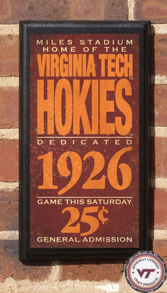Virginia tech hokies football classic vintage style plaque for Tech house classics