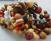 OOAK Large Chunky Vintage Nurtreal Real Wood Beads Multiple Loop Layer Stacking Arm Candy Memory Wire Wrap Bracelet
