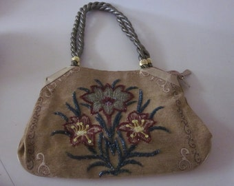Vintage Purse handbag gorgeous beaded floral boho tapestry large tote bag