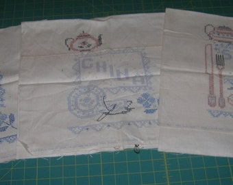 3 Vintage Linen Tea Towels With Cross Stich Patterns Glass China Silver Circa 1950's