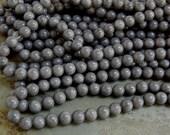 8mm Ash Grey Mashan Jade Round Polished Gemstone Beads, Half Strand (INDOC717)