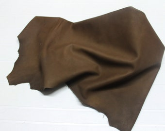Italian Lambskin leather hide hides skin skins NATURAL BROWN OLIVE  6sqf  #A139