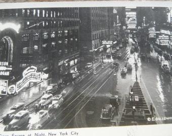 Vintage RPPC - Photo Postcard - Time Square at Night - New York City