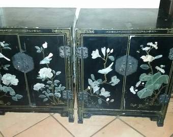 Antique Chinese Asian Art Black Lacquer and Mother Of Pearl Handpainted Cabinets