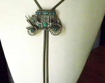 1950s,  Stagecoach, Bolo tie, necklace, Faux Turquoise, metal arrowheads, adjustable, Silver tone, Vintage, Western, cowboy, Cool