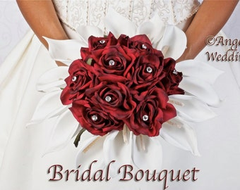 CASSIEL BURGUNDY Wedding Bouquet Package Bridal Bridesmaid Groom Boutonnieres Corsages Keepsake Bouquets Roses Silk Floral Custom Flowers