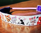 NOODLE HUGGER Non slip ribbon headband - cats - 7/8 inch (running, working out, everyday: women and girls)