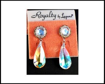 Long AB Crystal & Rhinestone Earrings Aurora Borealis Lucite Rivoli Pierced LAGUNA New Old Stock Bridesmaid Rockabilly Hosstess Gift For Her