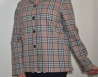 Vintage  wool Pendleton plaid jacket women's blazer 1980s Made in USA Size 10/12  Checks blazer Warranted to be a Pendleton Portland, Oregon