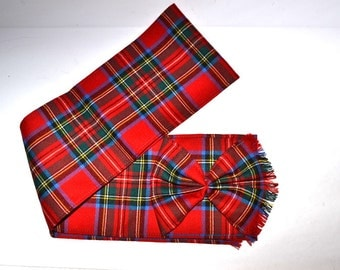 """Vintage 90s Made in Scotland scarf  5"""" x 43"""" tartan pure wool scarf  Gift Accessory for her or him"""