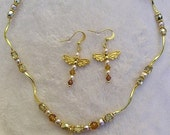 OnSALE Dragonfly Necklace Gold Pearl Crystal Pendant & Earrings Set Bridal Bridesmaid Jewelry Sets STRONG Magnetic Pave Clasp
