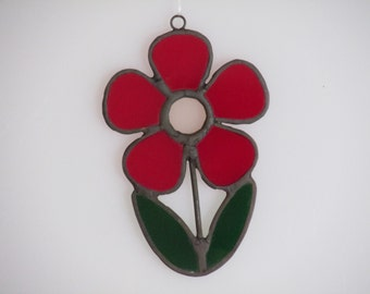 Stained Glass Red and Pink Flower Suncatcher