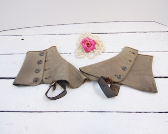 Vintage Victorian Boot Spats Wool Button UP Boot Toppers Steampunk Decor