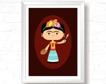 Frida Kahlo - Printable Original Illustration, Instant Download, Home Decor, Wall Art, T-shirt graphic, Art Print, Poster Design
