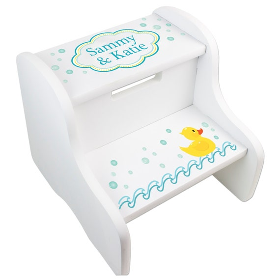 Personalized bath rubber ducky step stool for girls and boys Bathroom step stool for kids