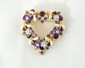Vintage Brooch Heart Brooch Purple stones and enamel