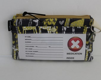 """EpiPen Case, 8"""" x 5"""", Insulated, Zipper Top, Snack Bag, Water Repellent Lining, Grey Gold Giraffe Print, Travel Medical Bag, Made To Order"""