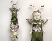 Garden Sprite, mixed media assemblage, flower girl, millinery flowers, altered art doll, fairy art, by Elizabeth Rosen