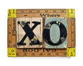 valentine gift, Xs and Os, X O, hugs and kisses, wooden sign, love art with architectural salvage, by Elizabeth Rosen