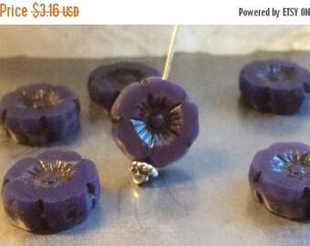 ON SALE Czech Flower Bead 12mm Purple Opal Picasso Qty 6
