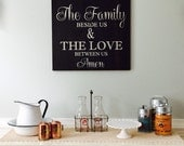 Bless the food before us, the family beside us, and the love netween us. Amen. Painted sign on reclaimed barn wood.