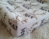 little man tan black / antlers / rustic / woodland / deer /  Fitted Crib Sheet / Changing Pad Cover / Mini Crib Sheets