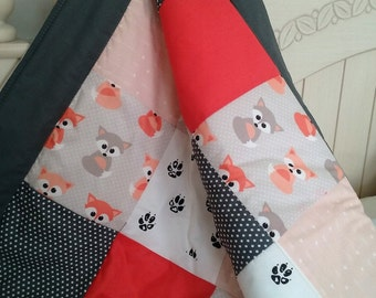 Fox Baby Blanket - Little Fox Print Contemporary  Designer Fabric /  Foxes Blanket /  Coral Peach Grey / Grey Version with options