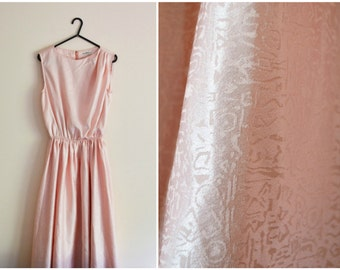 Peach Dress - pink, coral pastel, embossed, 80s, party, cocktail, pin tucks, flared skirt, xs - small