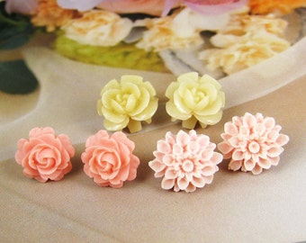 Pretty flower post earring - set of 3 pairs (EAR-Set-01)