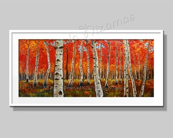 Birch Forest Giclee Print of Original Oil Painting Birch Trees in Fall Red | Wall Decoration